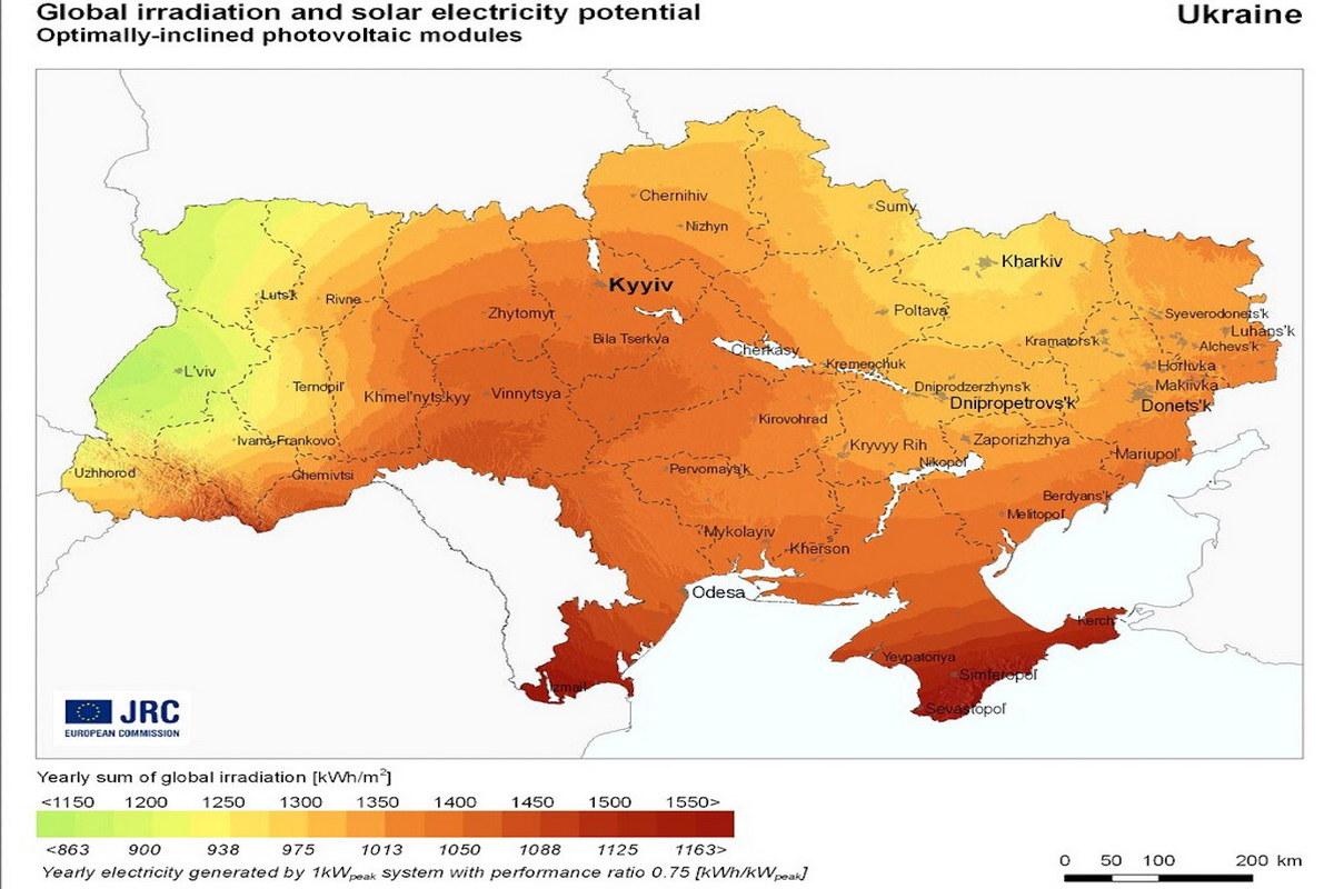 Солнечные электростанции Украины на карте